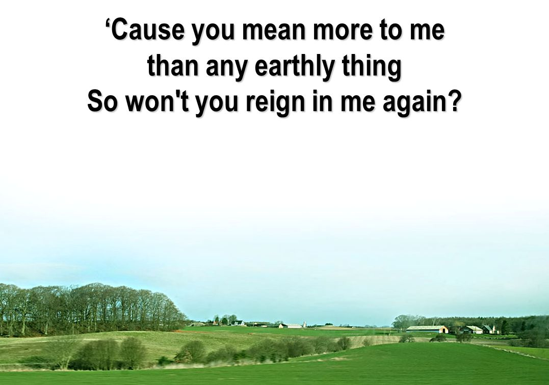 'Cause you mean more to me So won t you reign in me again