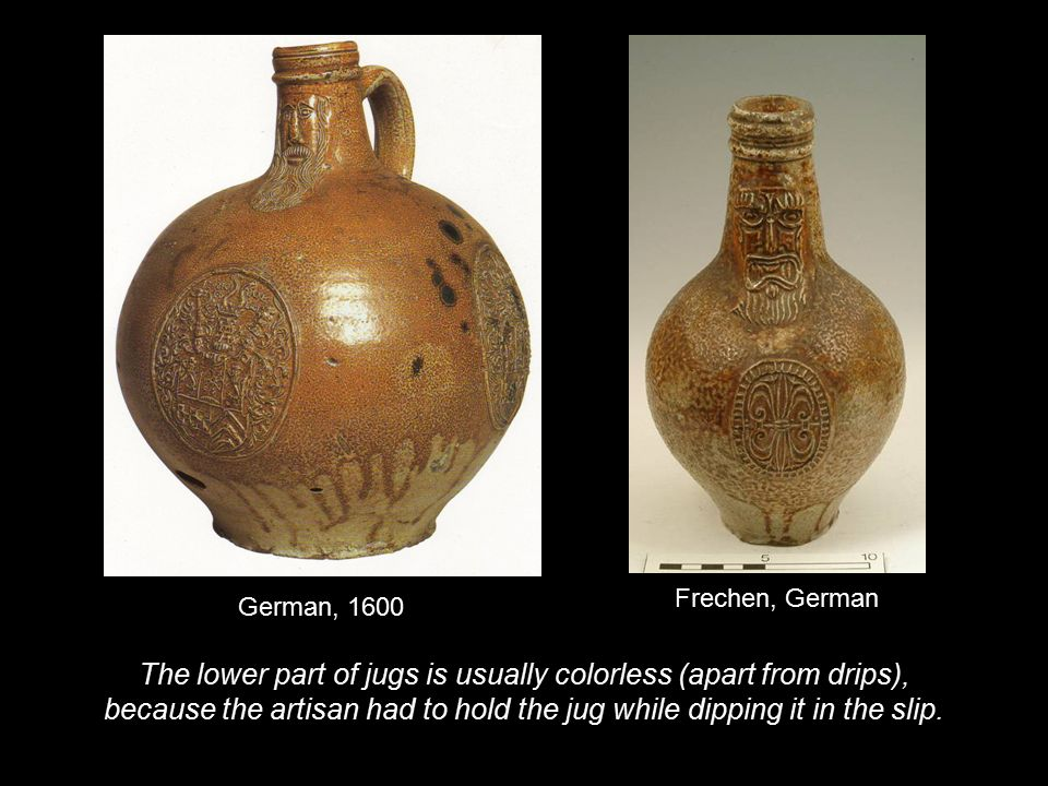 The lower part of jugs is usually colorless (apart from drips),