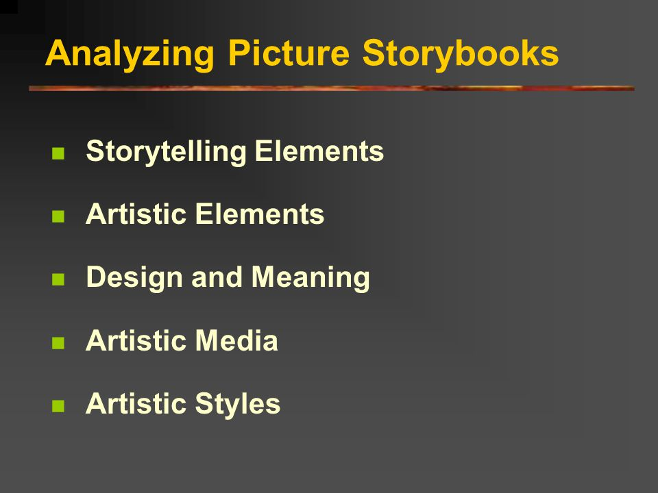 Analyzing Picture Storybooks