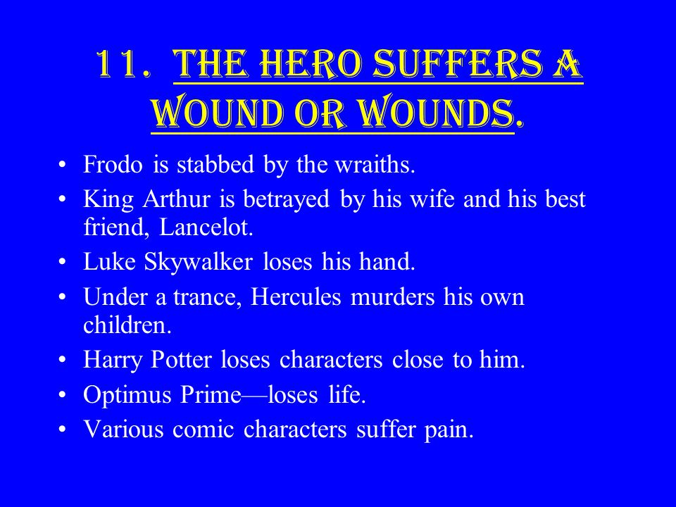 11. The hero suffers a wound or wounds.