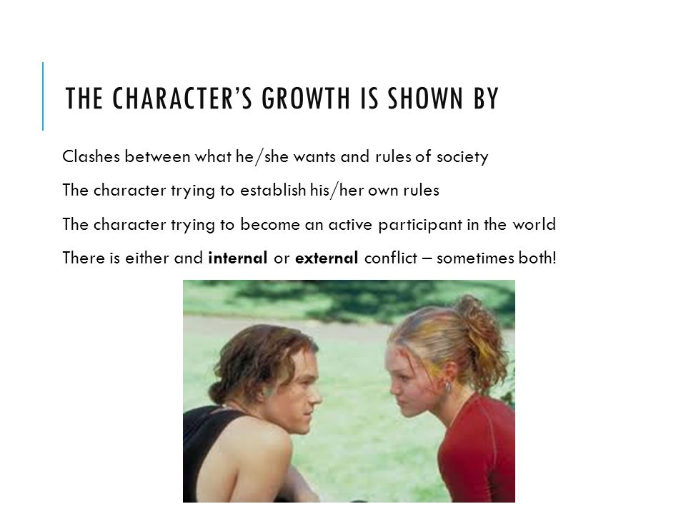 The character's growth is shown by