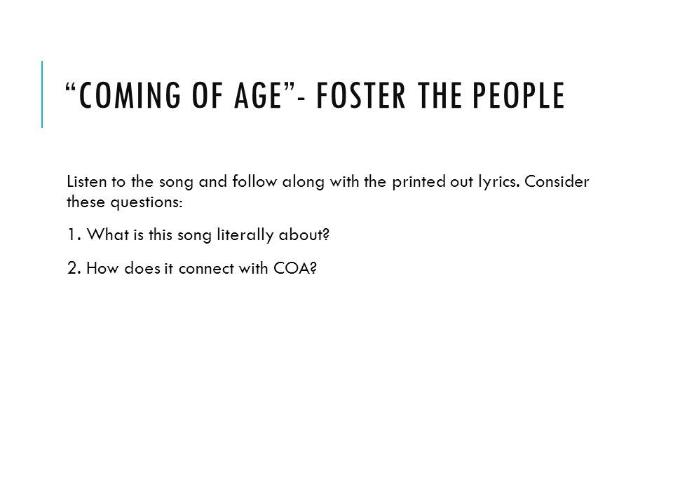 Coming of Age - Foster the People