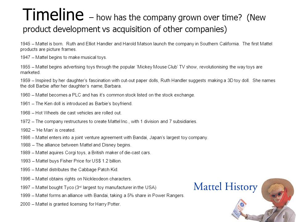 Timeline – how has the company grown over time