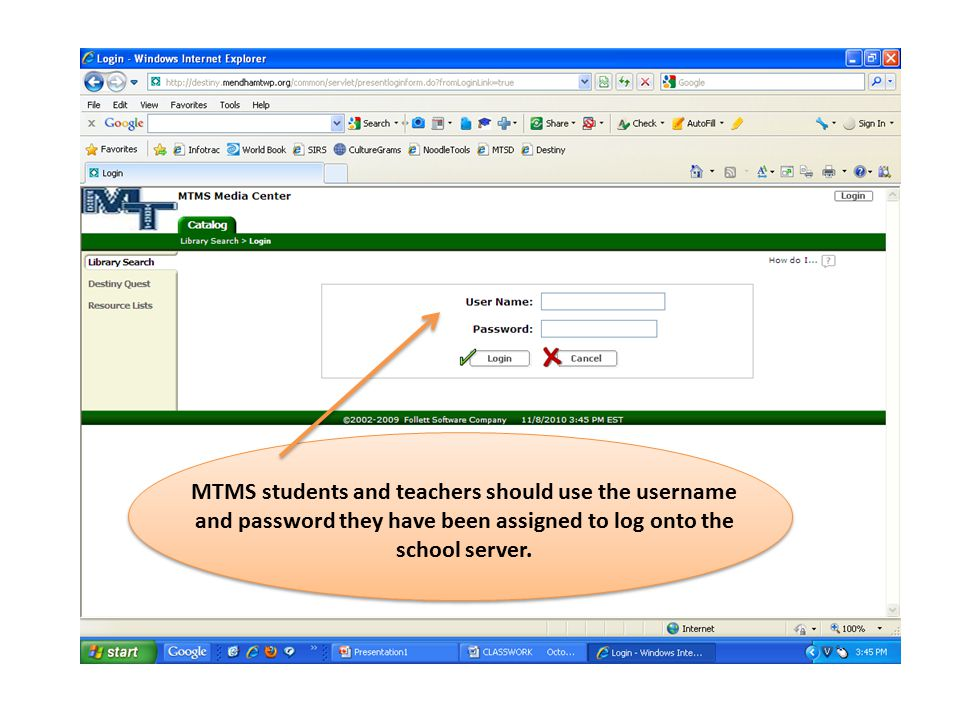 MTMS students and teachers should use the username and password they have been assigned to log onto the school server.