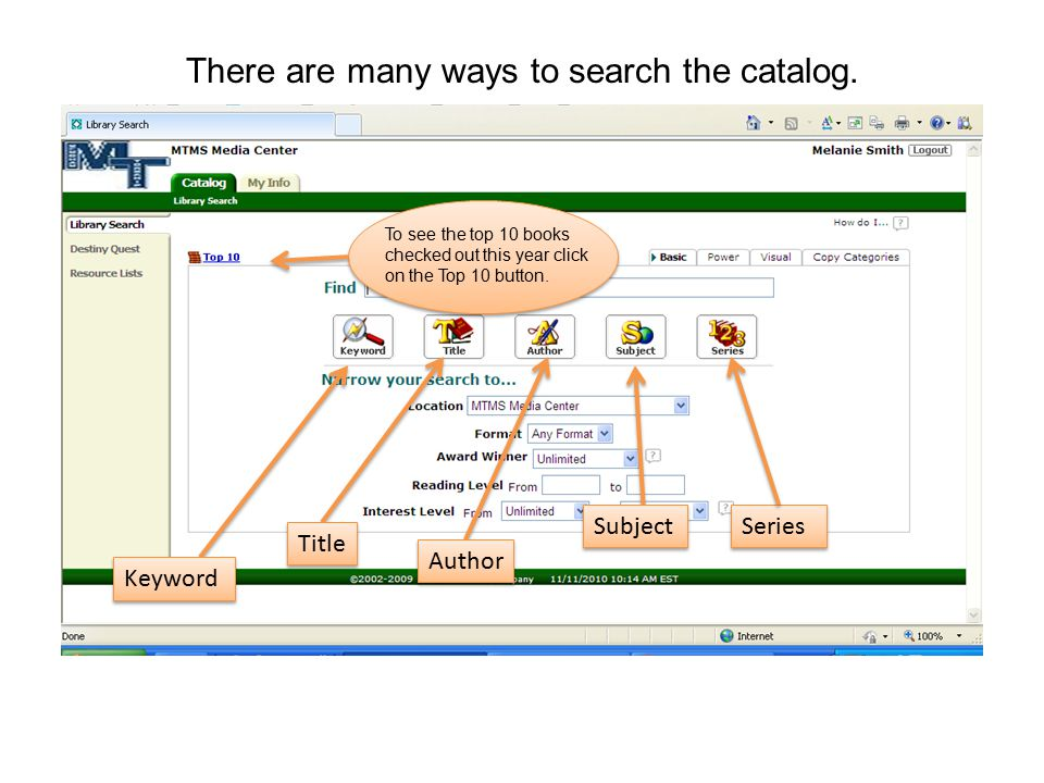 There are many ways to search the catalog.