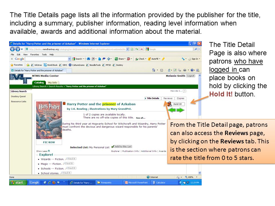 The Title Details page lists all the information provided by the publisher for the title, including a summary, publisher information, reading level information when available, awards and additional information about the material.