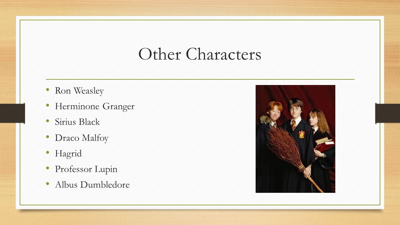 Other Characters Ron Weasley Herminone Granger Sirius Black