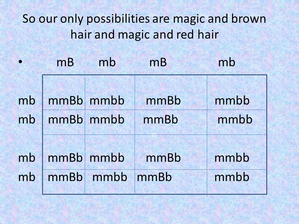 So our only possibilities are magic and brown hair and magic and red hair