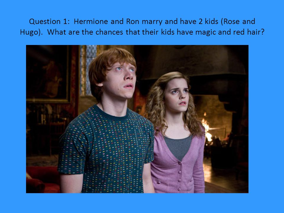 Question 1: Hermione and Ron marry and have 2 kids (Rose and Hugo)