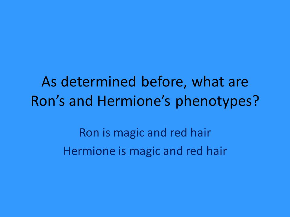 As determined before, what are Ron's and Hermione's phenotypes