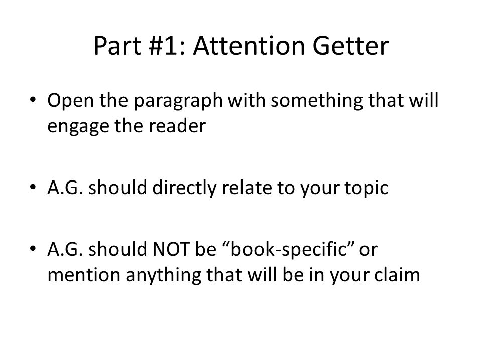 Attention getters defintion essay