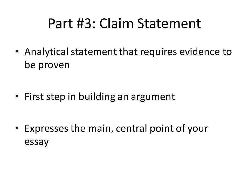 Part #3: Claim Statement