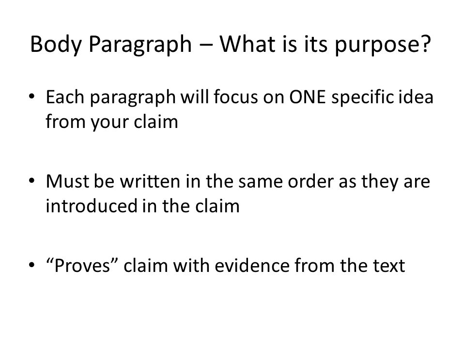 Body Paragraph – What is its purpose