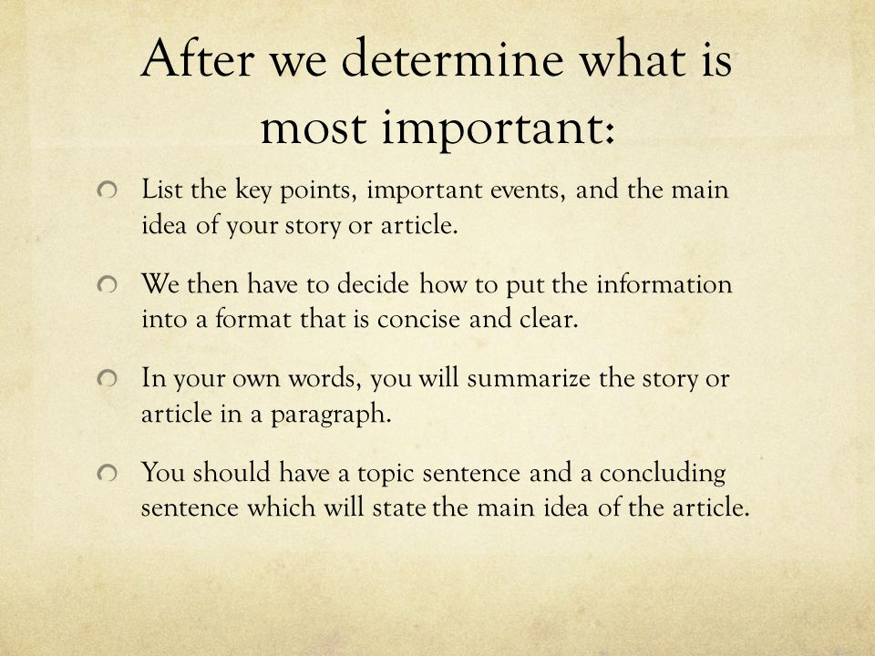After we determine what is most important: