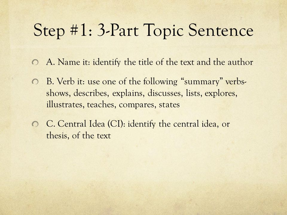 Step #1: 3-Part Topic Sentence