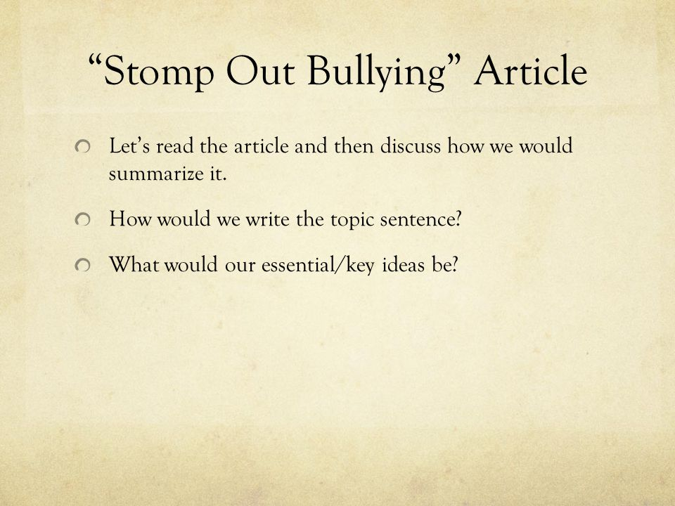 Stomp Out Bullying Article