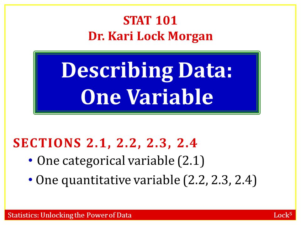 Describing Data: One Variable