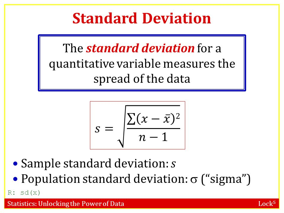 Standard Deviation The standard deviation for a quantitative variable measures the spread of the data.