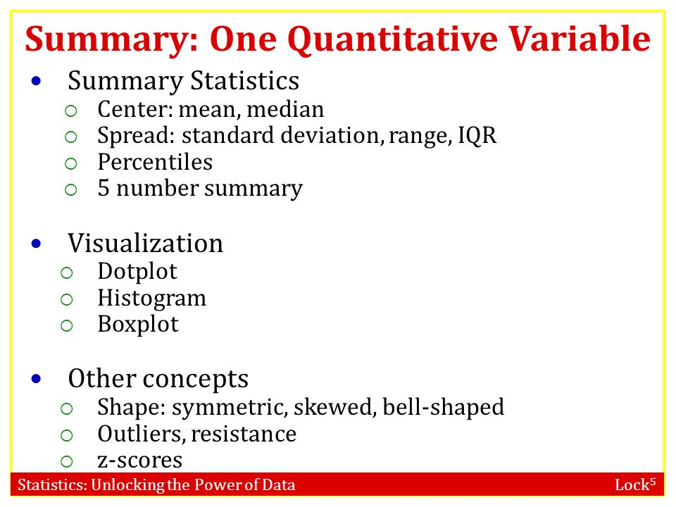 Summary: One Quantitative Variable