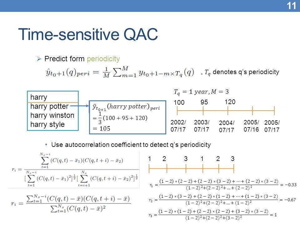 Time-sensitive QAC Predict form periodicity harry harry potter