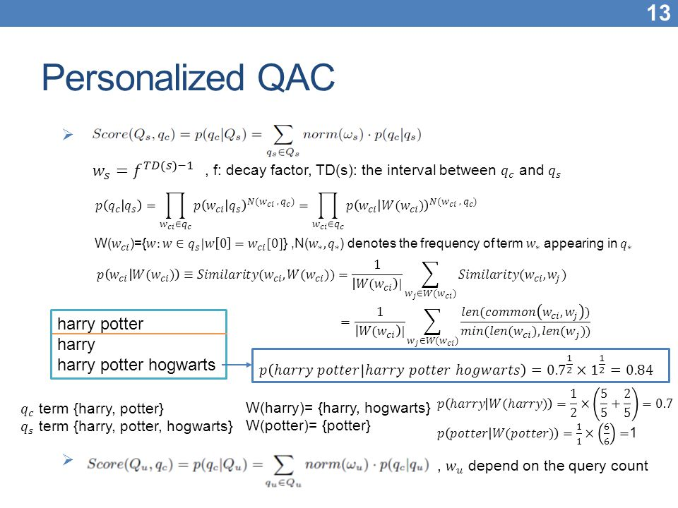 Personalized QAC 𝑤 𝑠 = 𝑓 𝑇𝐷 𝑠 −1 harry potter harry