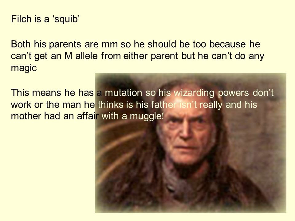 Filch is a 'squib' Both his parents are mm so he should be too because he can't get an M allele from either parent but he can't do any magic.