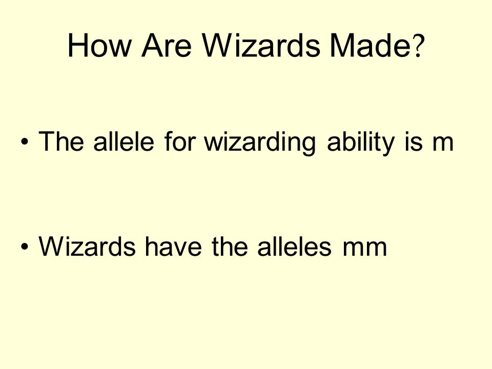 How Are Wizards Made The allele for wizarding ability is m