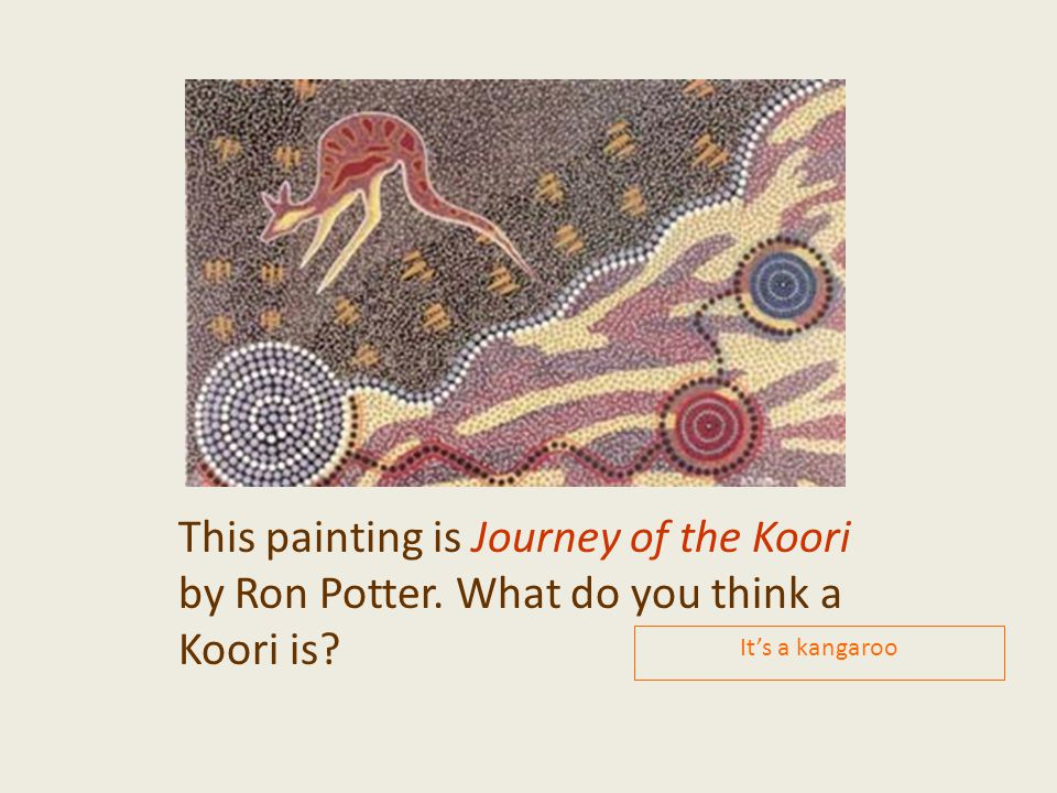 This painting is Journey of the Koori by Ron Potter