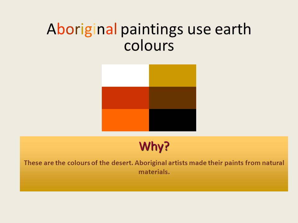 Aboriginal paintings use earth colours