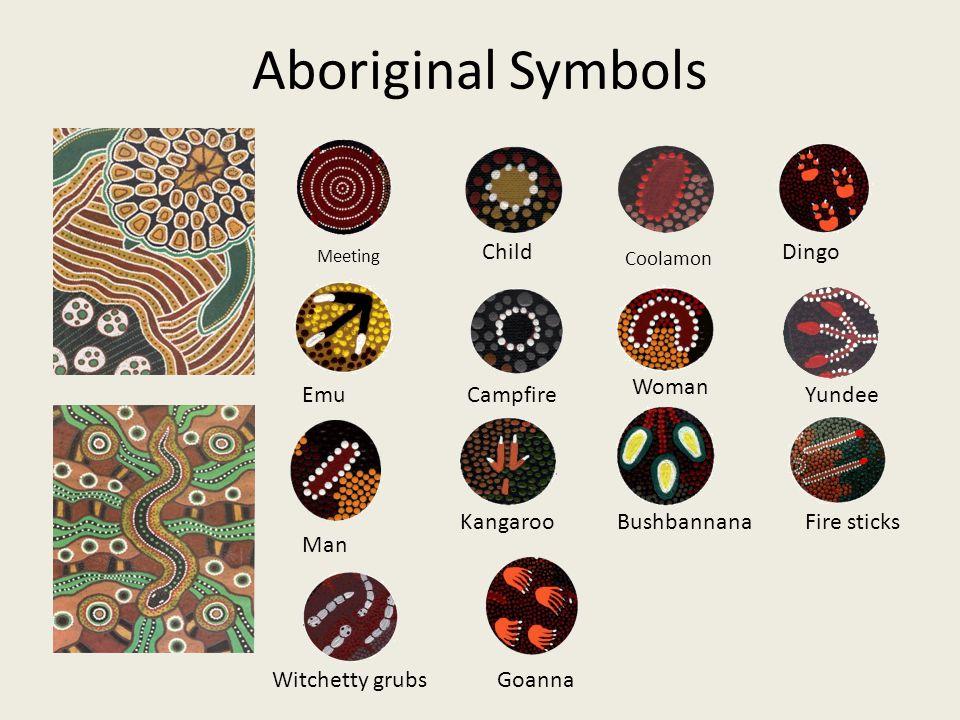 Aboriginal Symbols Child Dingo Woman Emu Campfire Yundee Kangaroo