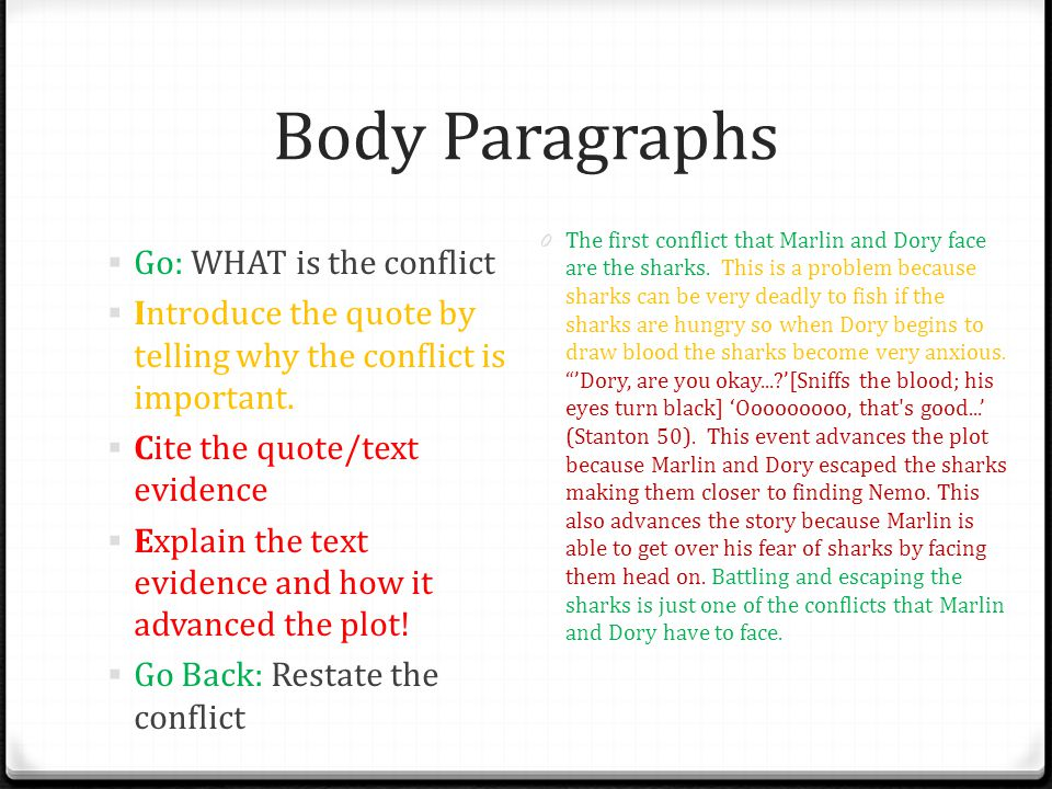 Body Paragraphs Go: WHAT is the conflict