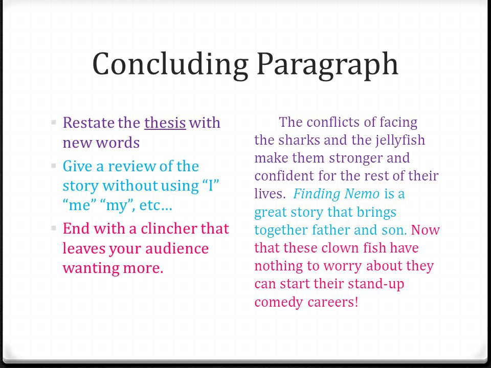 Concluding Paragraph Restate the thesis with new words