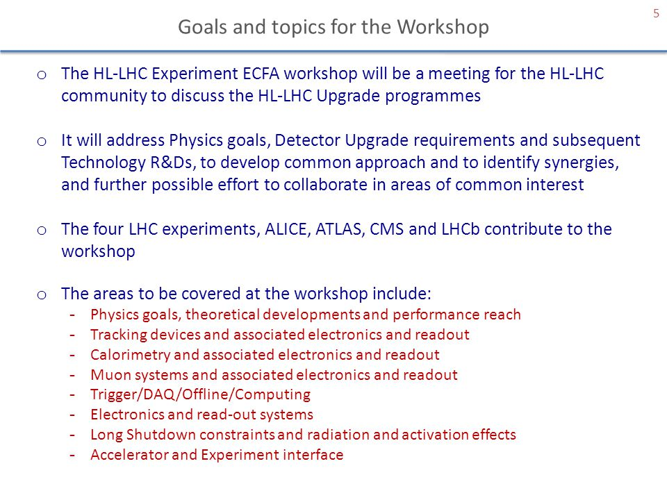 Goals and topics for the Workshop