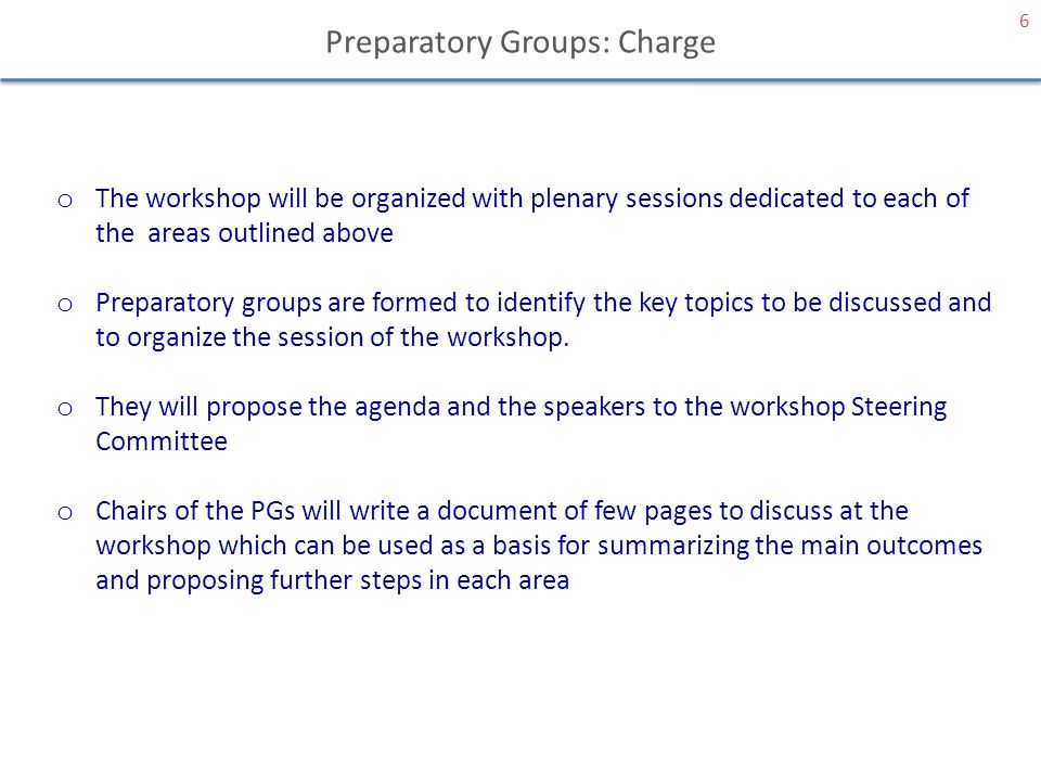 Preparatory Groups: Charge