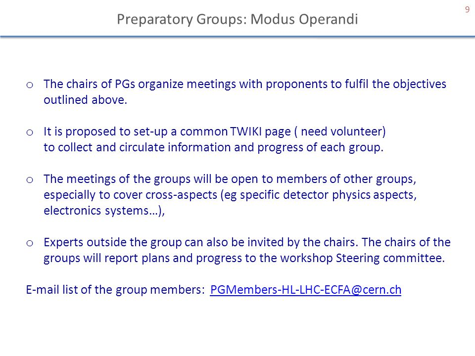Preparatory Groups: Modus Operandi