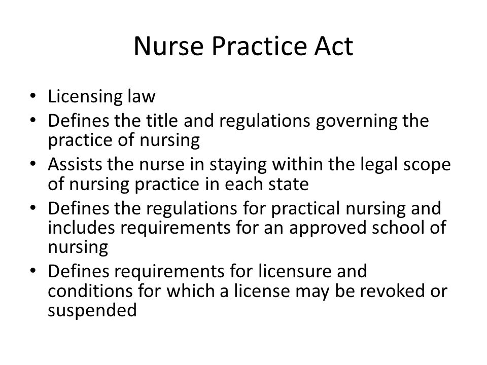 Nurse Practice Act Licensing law