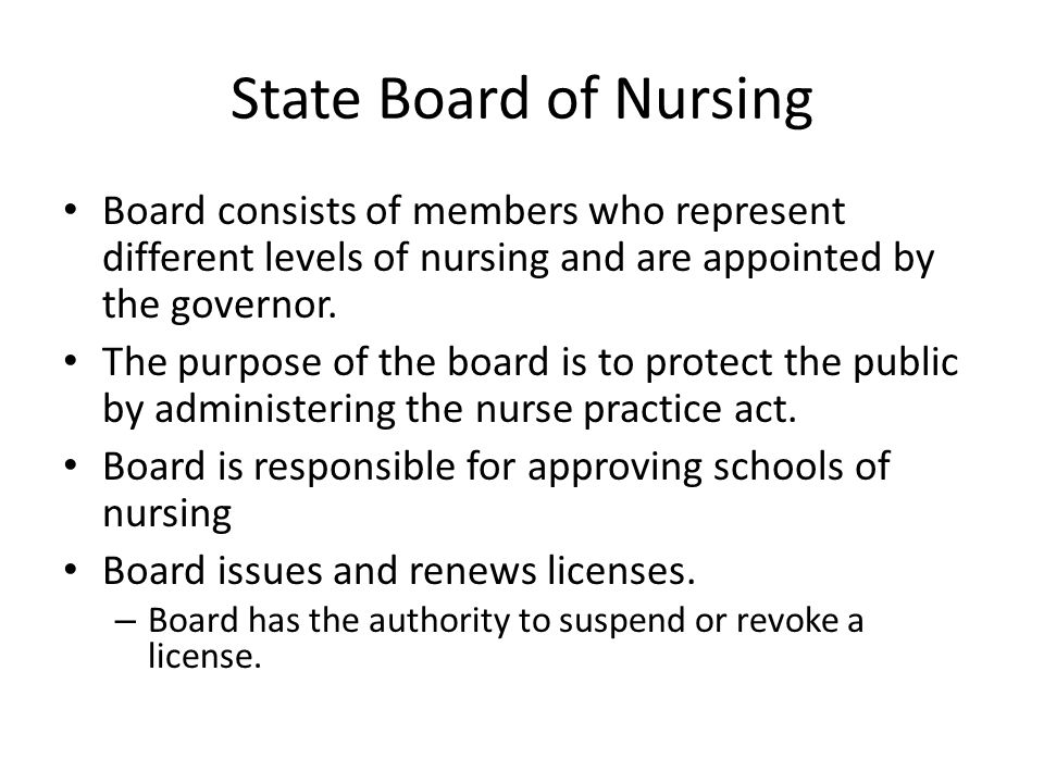 State Board of Nursing Board consists of members who represent different levels of nursing and are appointed by the governor.