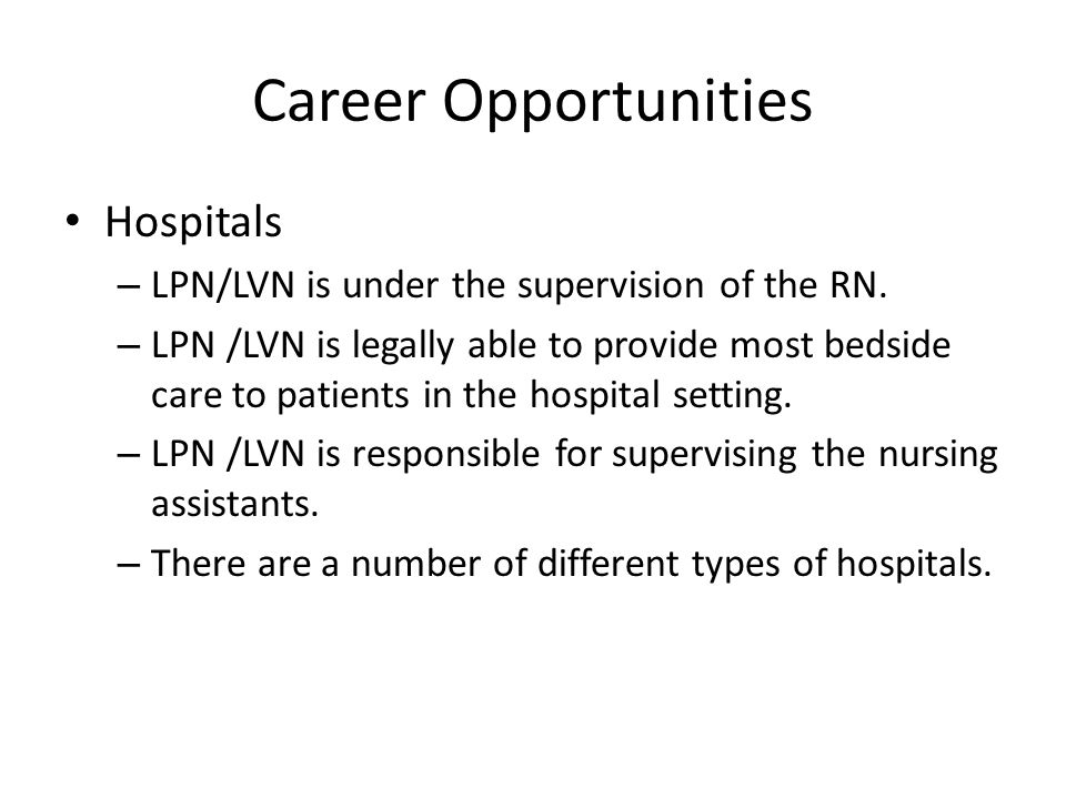 Career Opportunities Hospitals