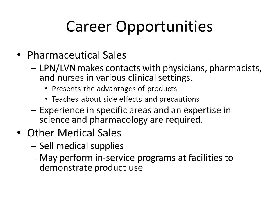 Career Opportunities Pharmaceutical Sales Other Medical Sales