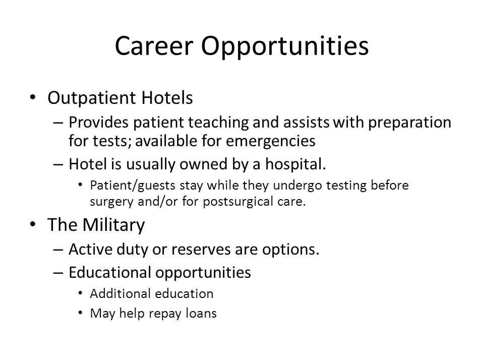 Career Opportunities Outpatient Hotels The Military