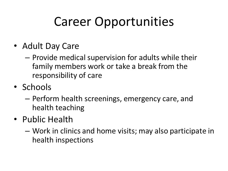 Career Opportunities Adult Day Care Schools Public Health