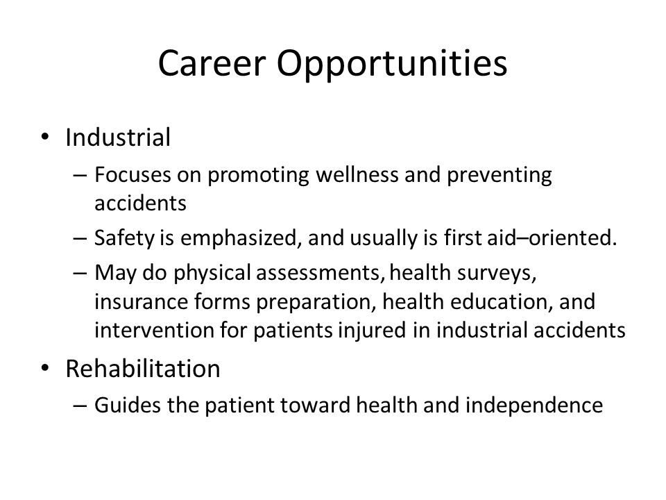 Career Opportunities Industrial Rehabilitation