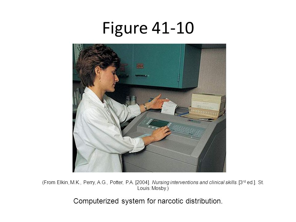 Computerized system for narcotic distribution.