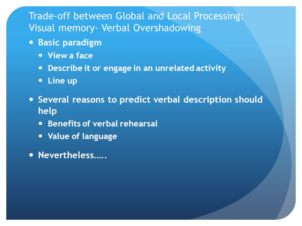 Trade-off between Global and Local Processing: Visual memory- Verbal Overshadowing