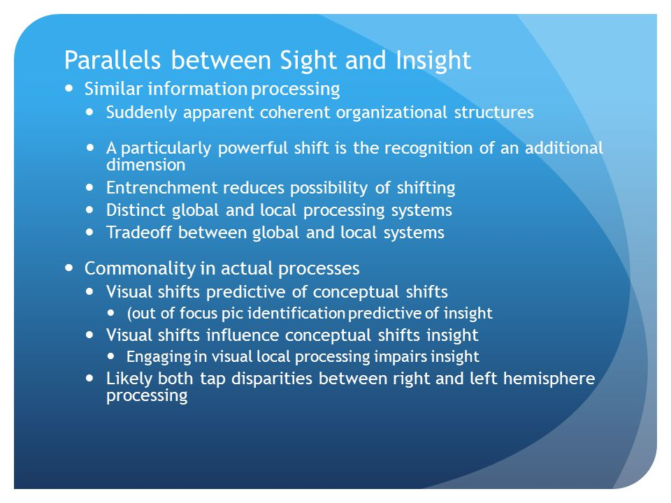 Parallels between Sight and Insight