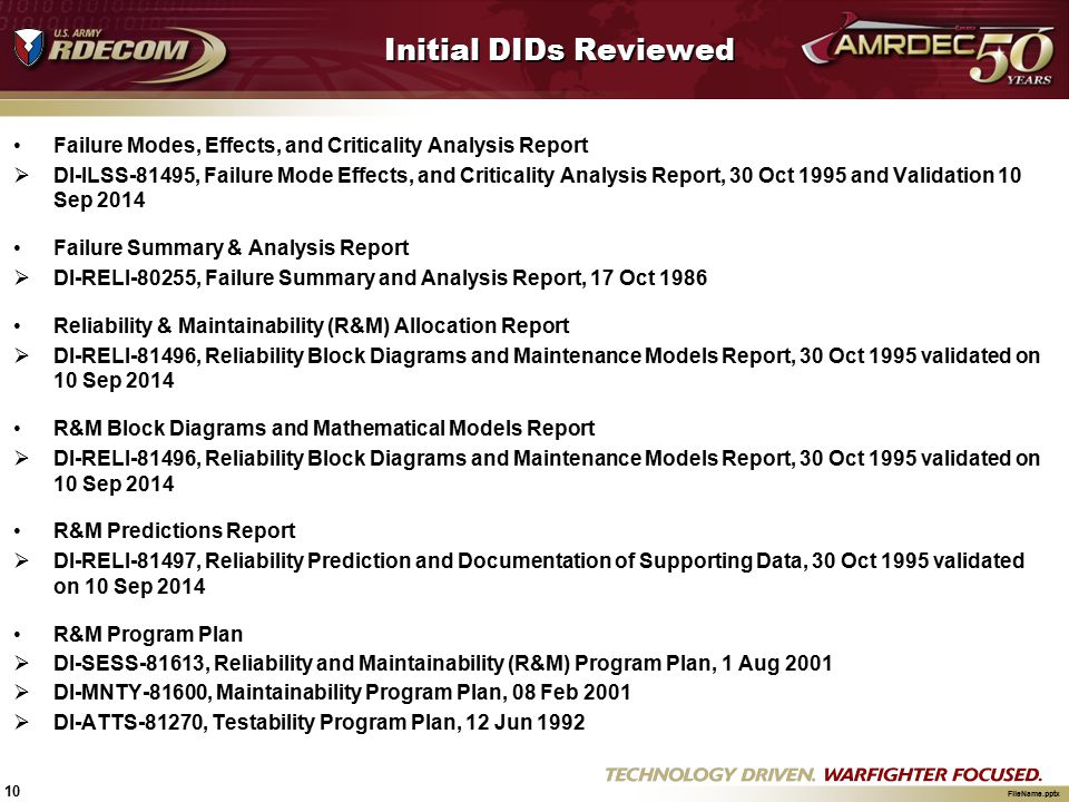 Initial DIDs Reviewed Failure Modes, Effects, and Criticality Analysis Report.