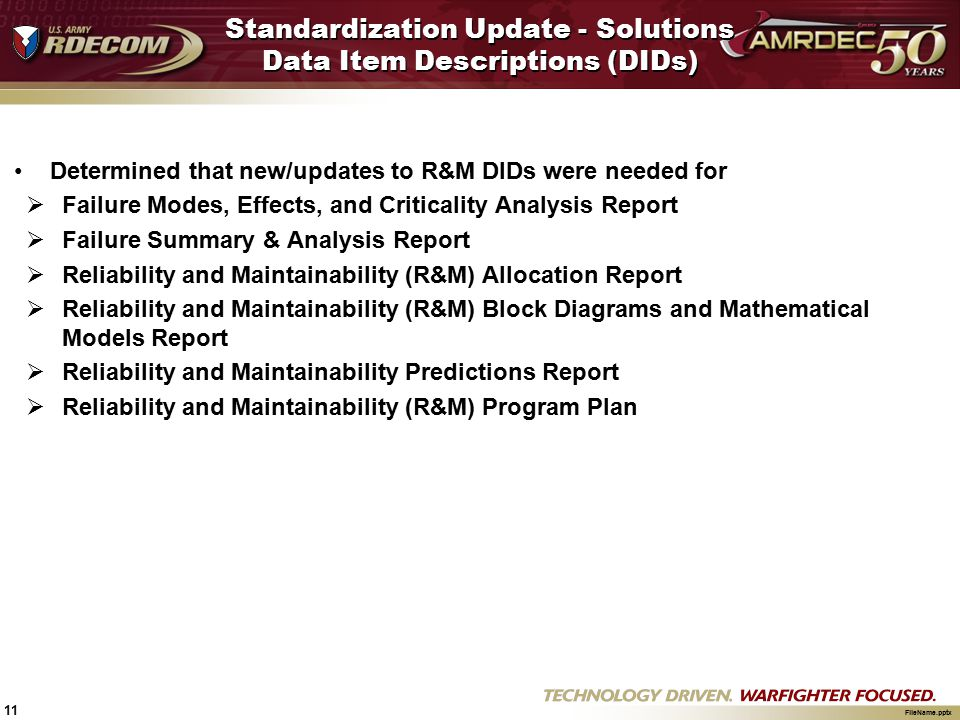 Standardization Update - Solutions Data Item Descriptions (DIDs)