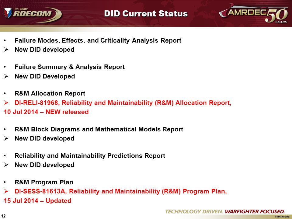 DID Current Status Failure Modes, Effects, and Criticality Analysis Report. New DID developed. Failure Summary & Analysis Report.