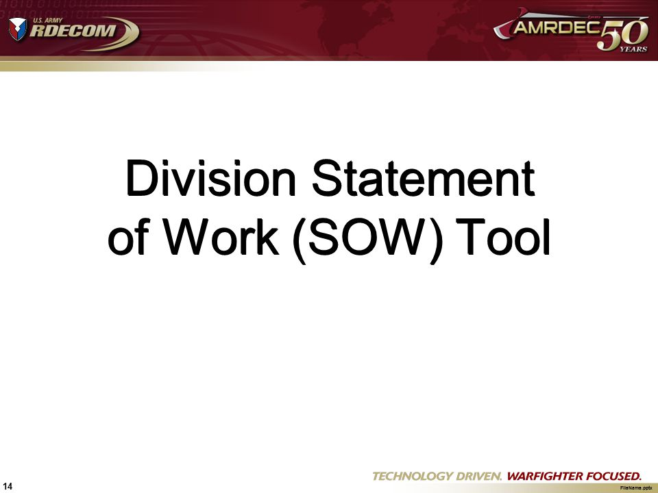 Division Statement of Work (SOW) Tool