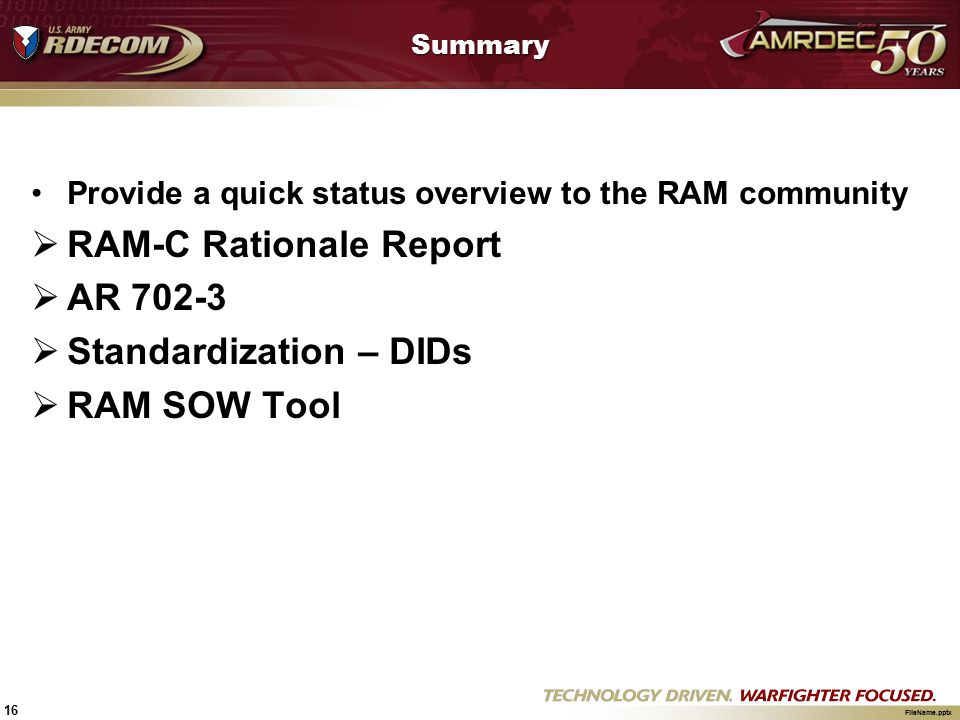 RAM-C Rationale Report AR 702-3 Standardization – DIDs RAM SOW Tool